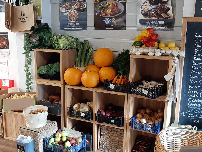 autumn vegetables in farmshop